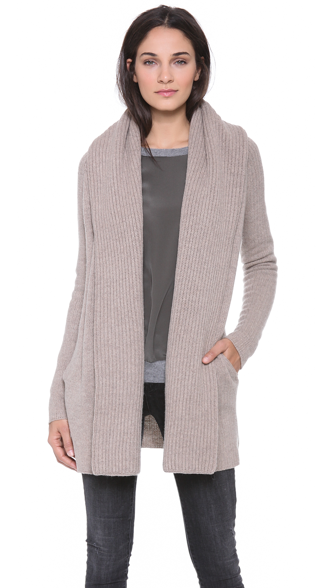 Vince Ribbed Shawl Cardigan in Gray (H.Oatmeal)