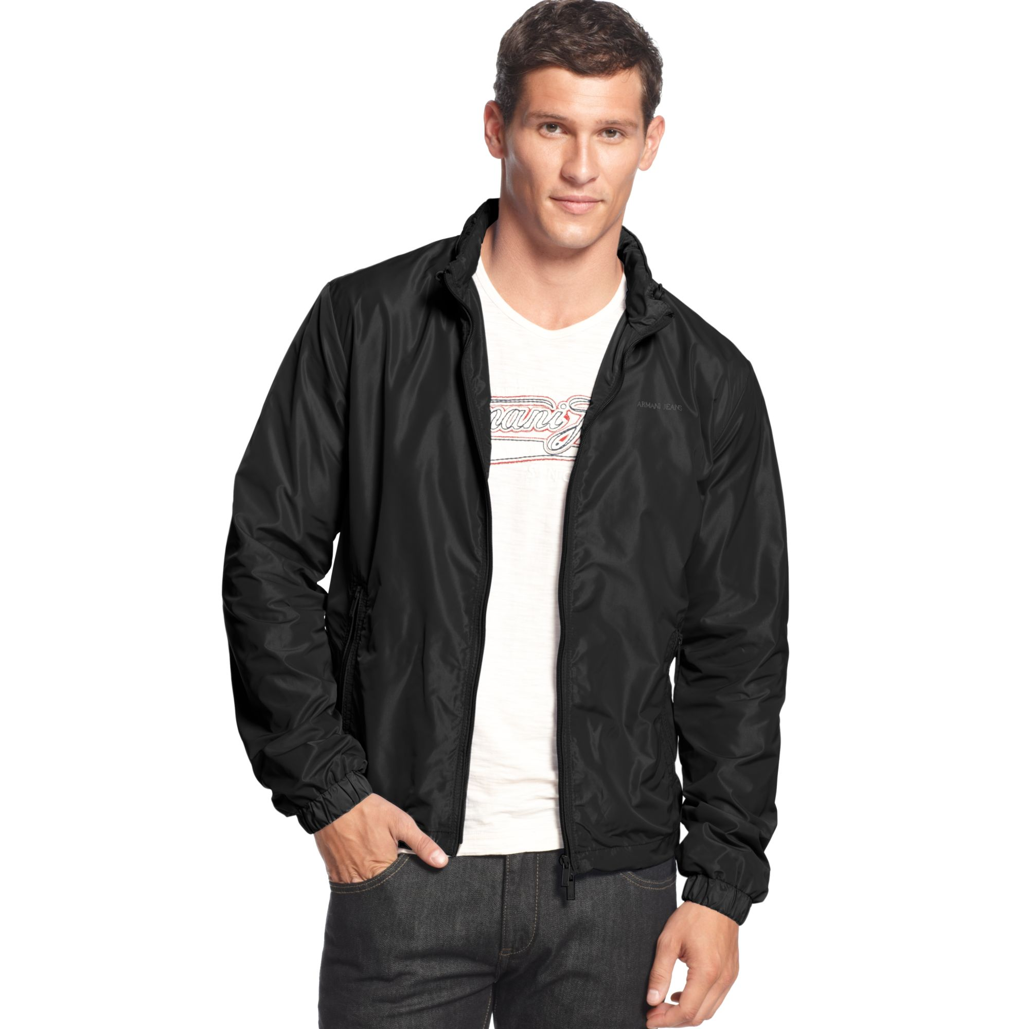 Armani jeans Light Weight Nylon Jacket in Black for Men | Lyst