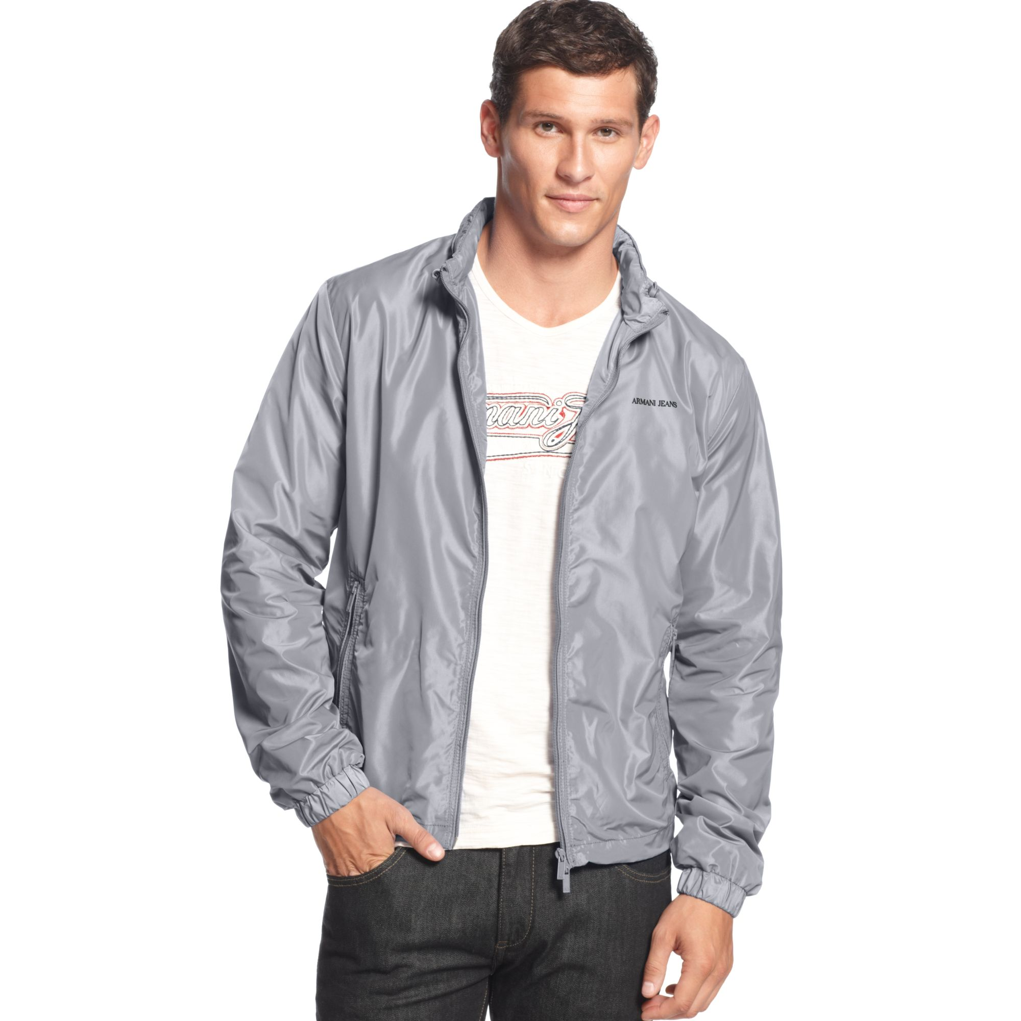Armani jeans Light Weight Nylon Jacket in Gray for Men | Lyst