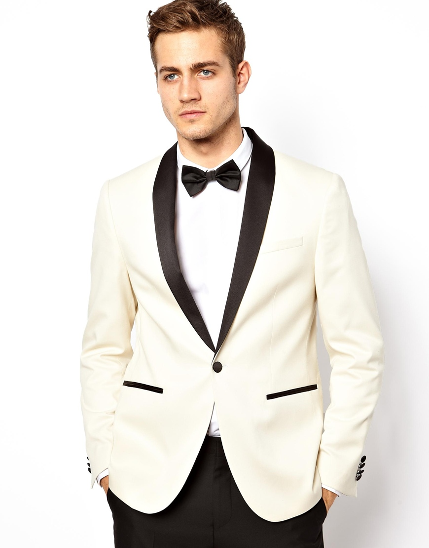 Deus ex machina Asos Slim Fit Tuxedo Jacket in White for Men | Lyst