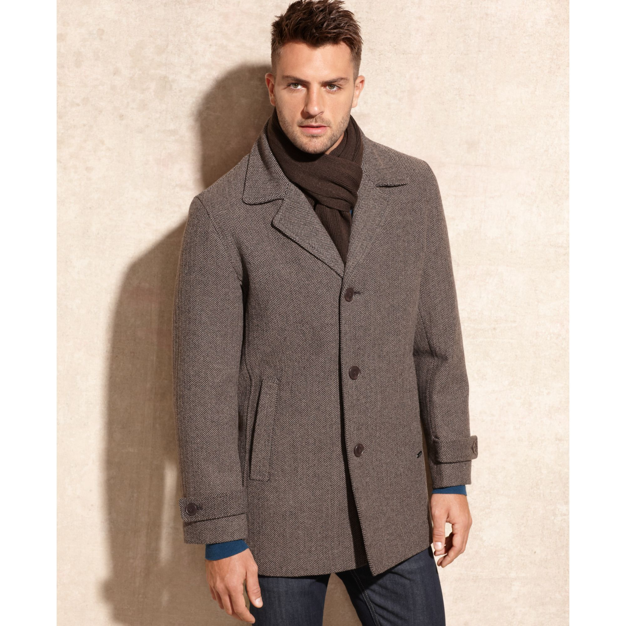 Calvin klein Melton Wool Blend Car Coat with Scarf in Brown for