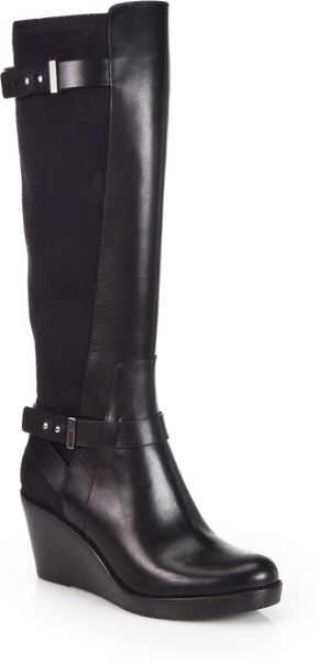 cole haan fulton leather suede wedge boots in black lyst