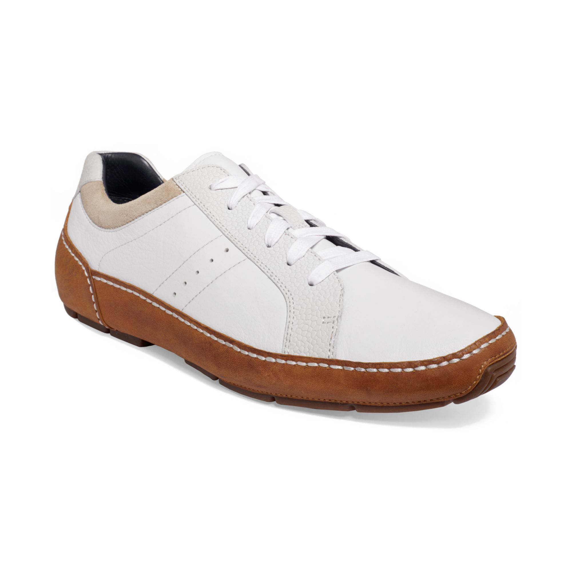 cole haan air mitchell laceup sneakers in white for