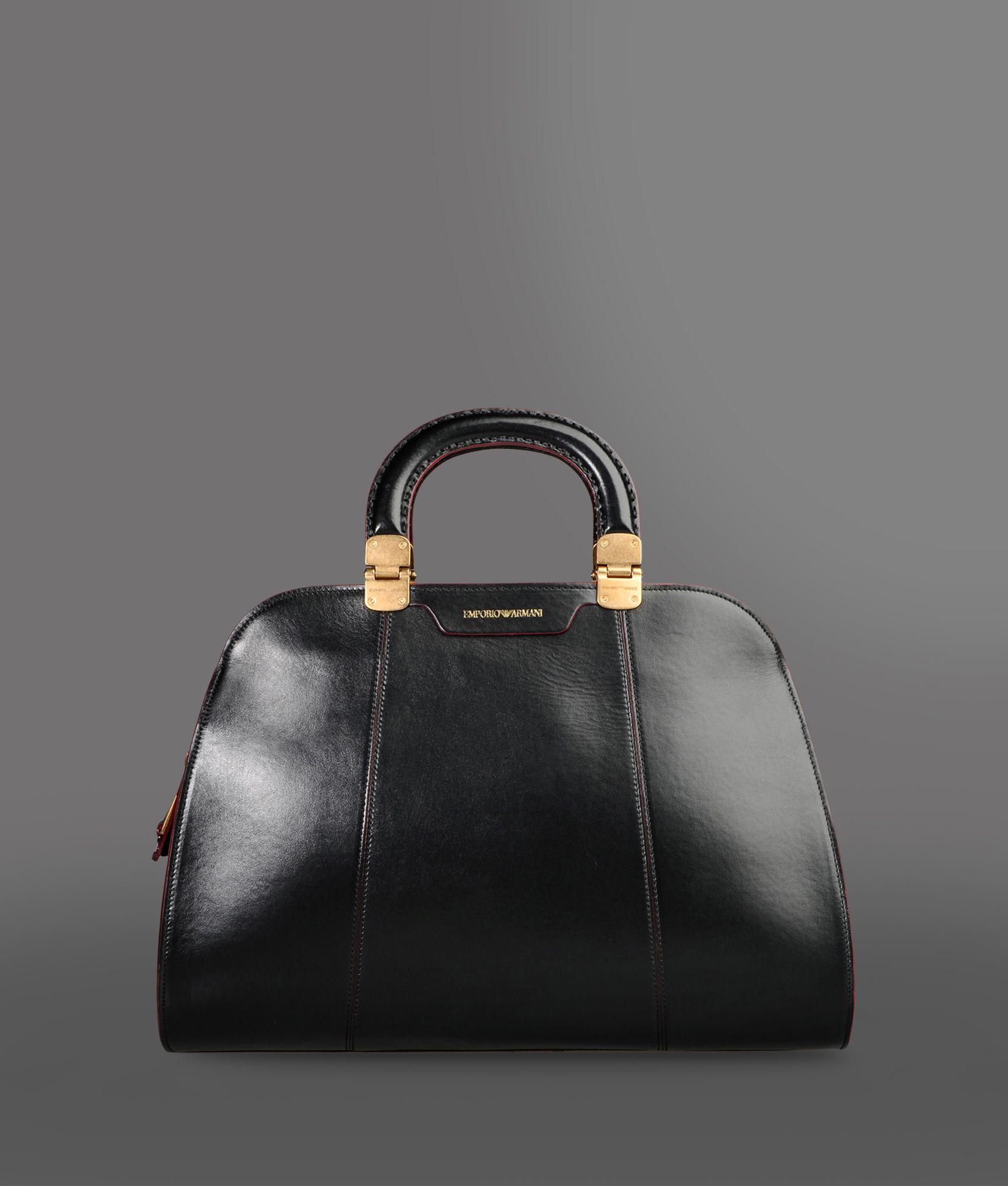 emporio armani sac main in black lyst. Black Bedroom Furniture Sets. Home Design Ideas