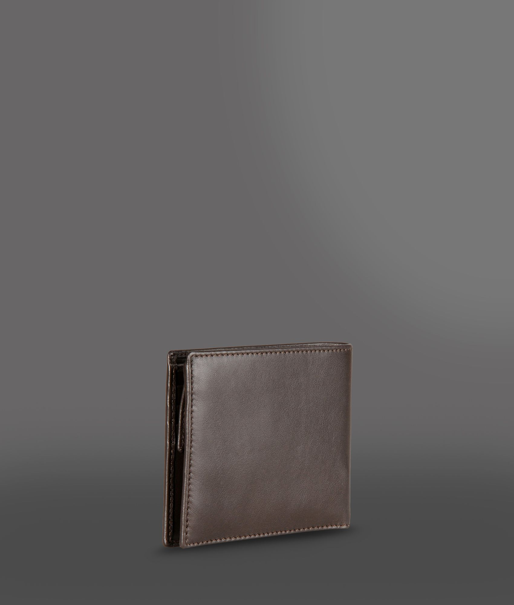 Emporio Armani Leather Wallet With Coin Purse In Brown For