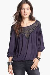 Free People Blue Sky Embellished Mesh Yoke Peasant Top - Lyst