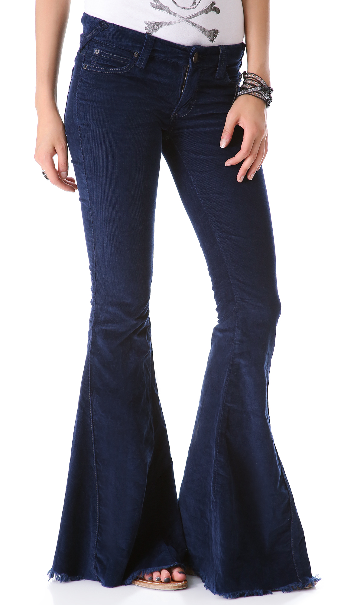 lyst free people super flare corduroy pants in blue