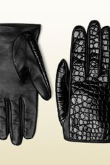 Gucci Black Crocodile Womens Gloves - Lyst