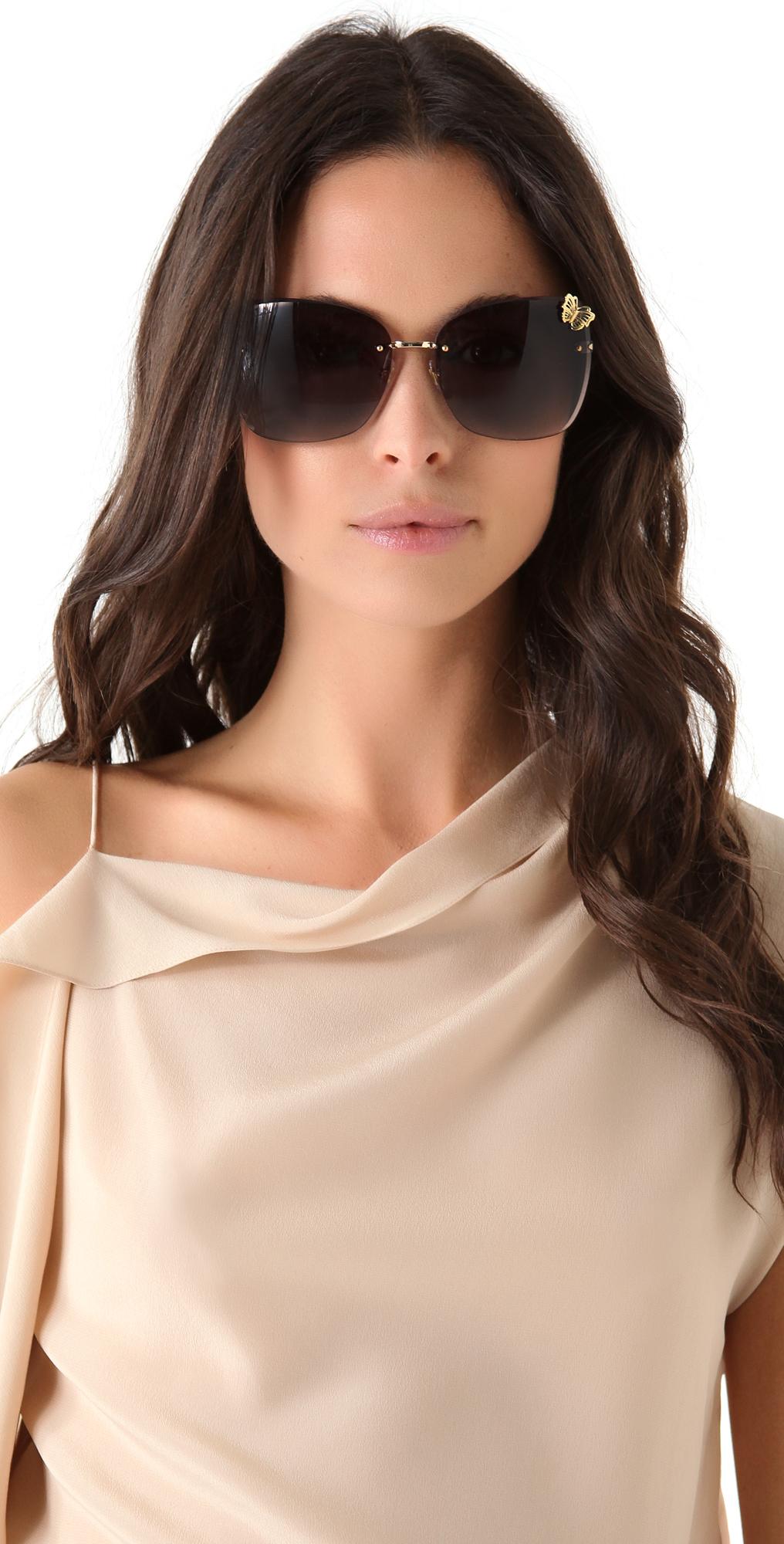 89f07cdff0 Lyst - Gucci Butterfly Butterfly Sunglasses in Metallic