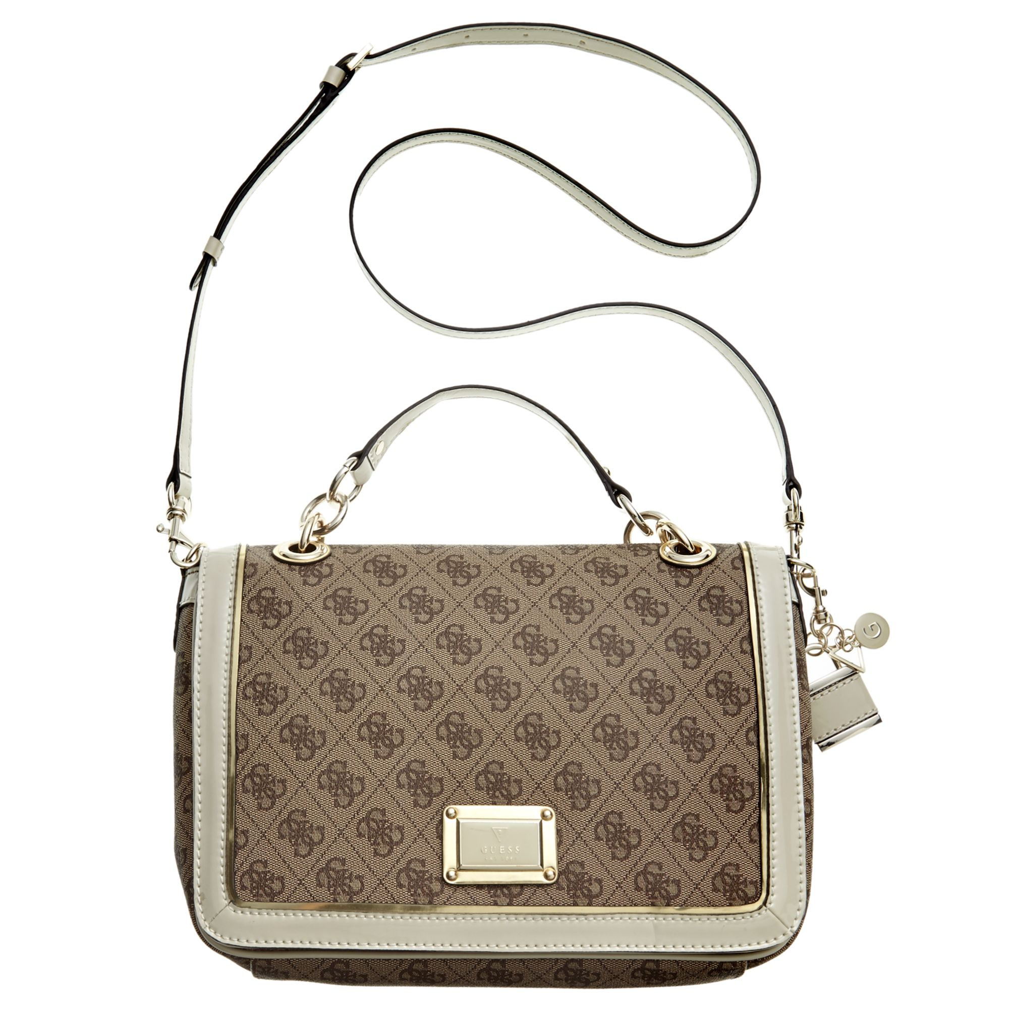 Guess Guess Handbag Reama Top Handle Flap Shoulder Bag In White Vanilla Lyst