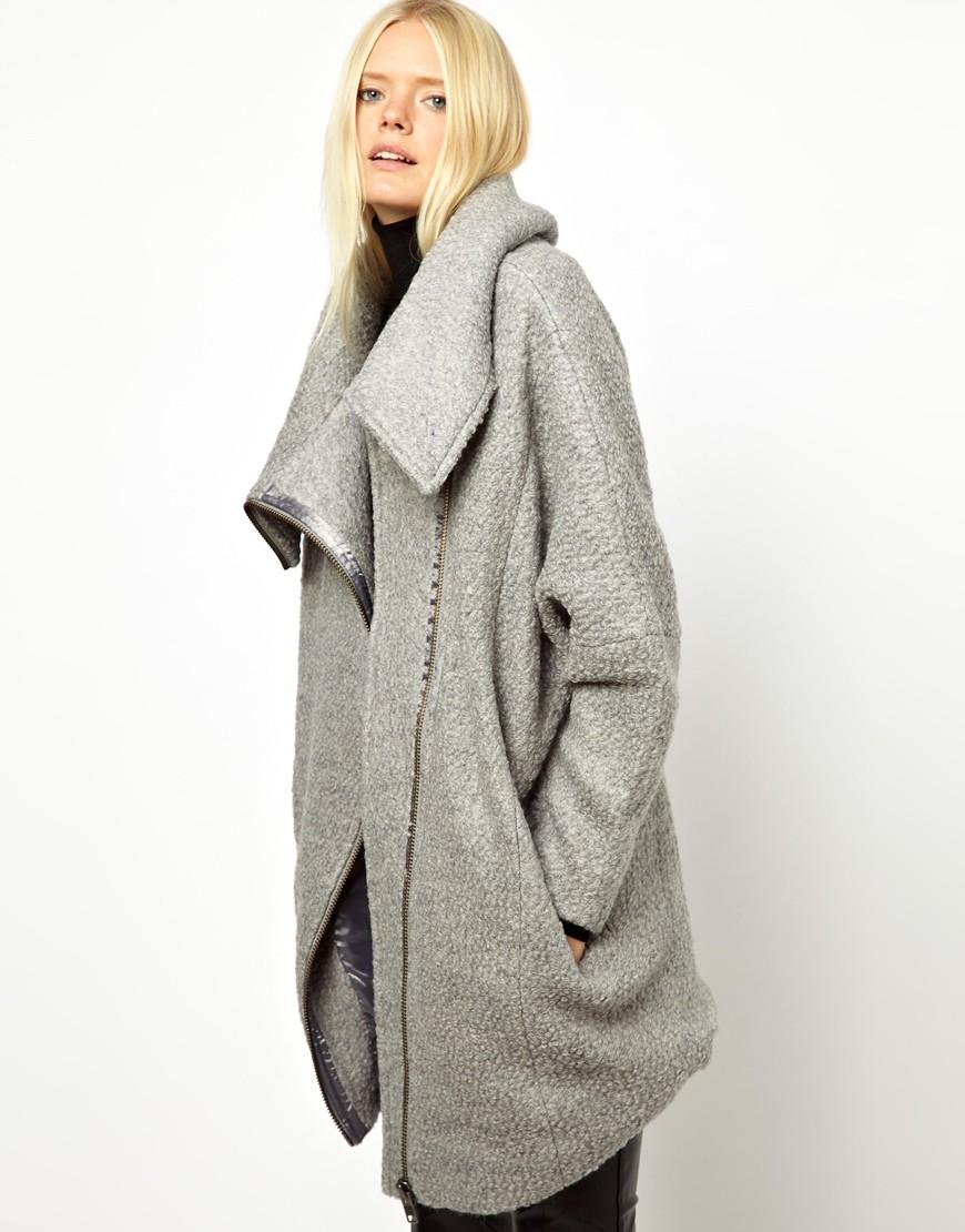 Asos Just Female Wool Zip Coat in Gray | Lyst
