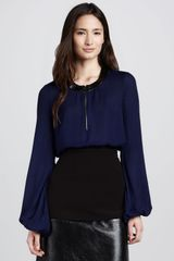 L'Agence Leather trim Silk Blouse - Lyst