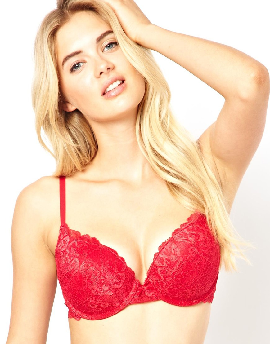 Ultimo Marie Meili Wilma Lace Super Push Up Bra in Red | Lyst