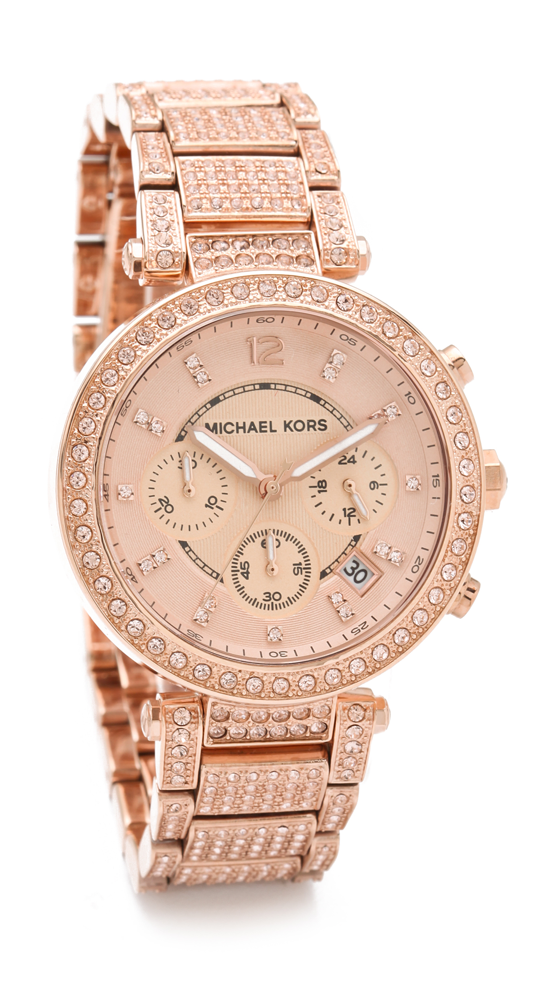michael kors parker glitz chronograph watch rose gold in. Black Bedroom Furniture Sets. Home Design Ideas