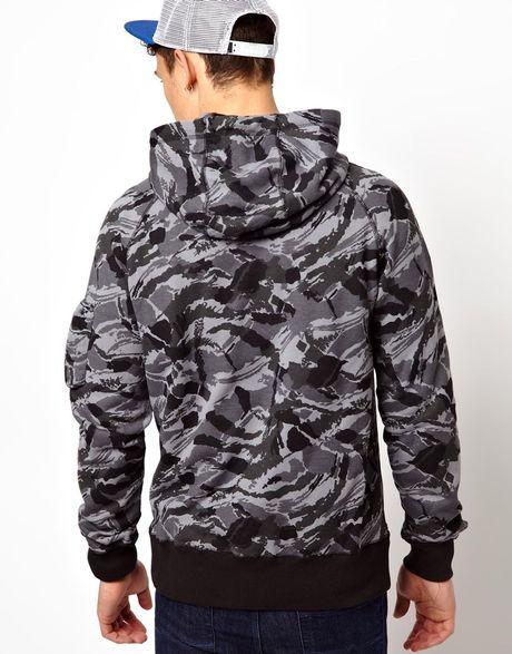 nike hoodie heritage camo zip thru in gray for men black. Black Bedroom Furniture Sets. Home Design Ideas