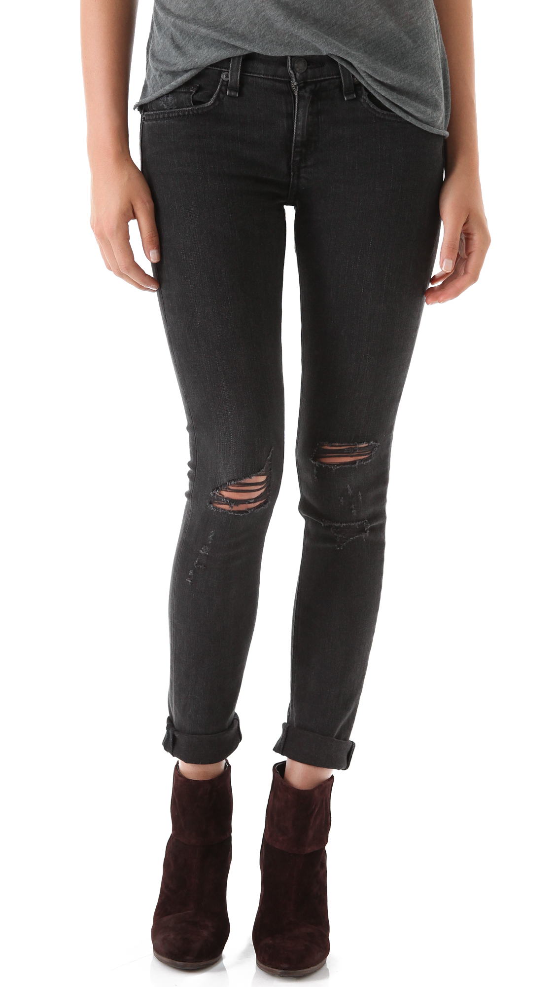 Rag And Bone Black Ripped Jeans - Jeans Am