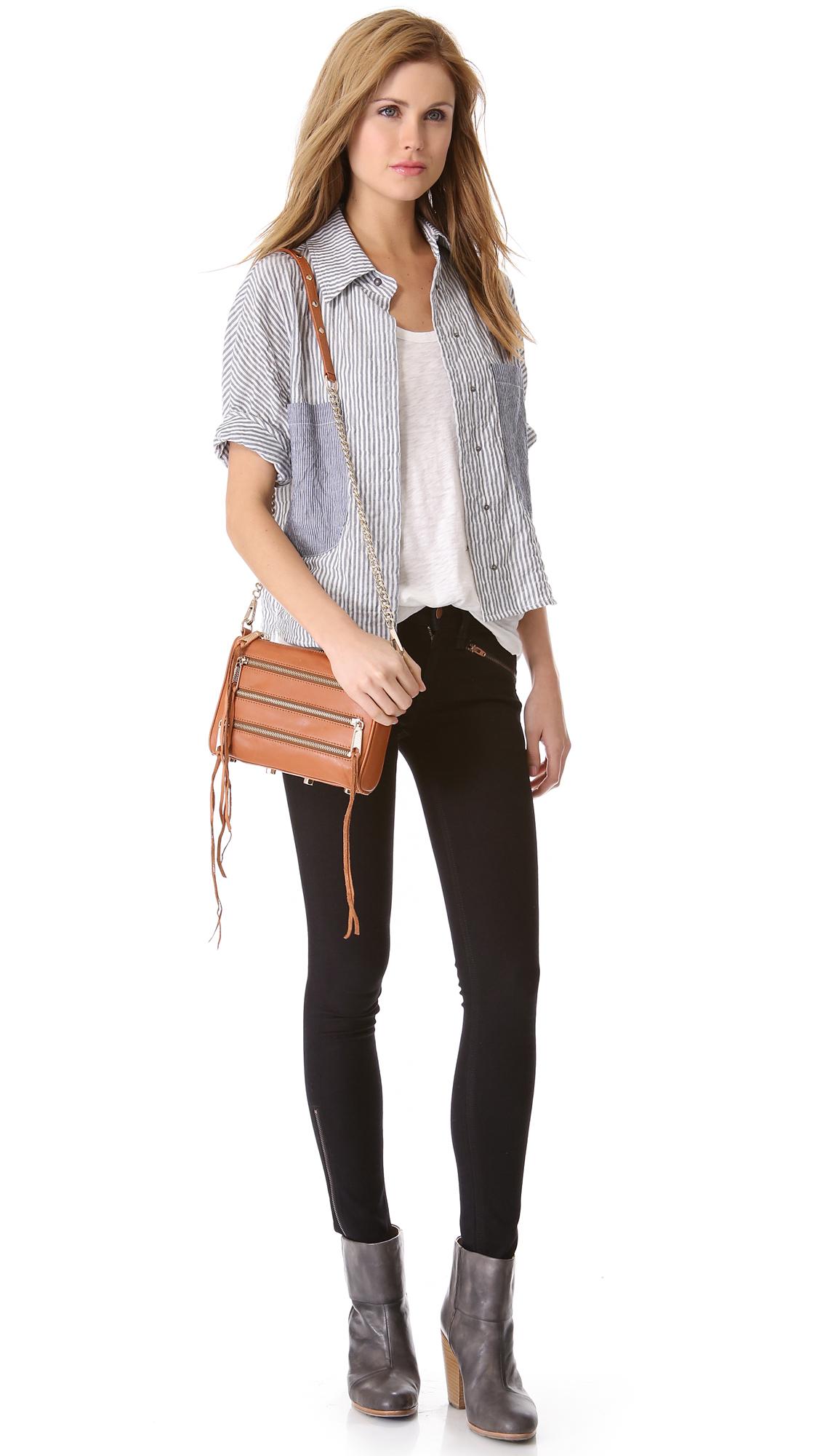 Lyst Rebecca Minkoff Mini 5 Zip Bag In Brown