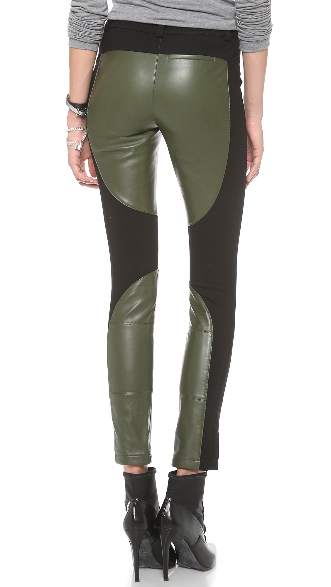 Rebecca minkoff Telescope Leather Pants in Green | Lyst