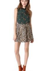 Sea Pleated Leopard Skirt - Lyst