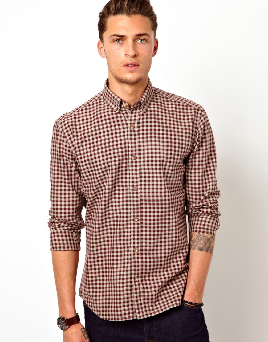 Lyst asos selected gingham shirt in purple for men for Men s purple gingham shirt