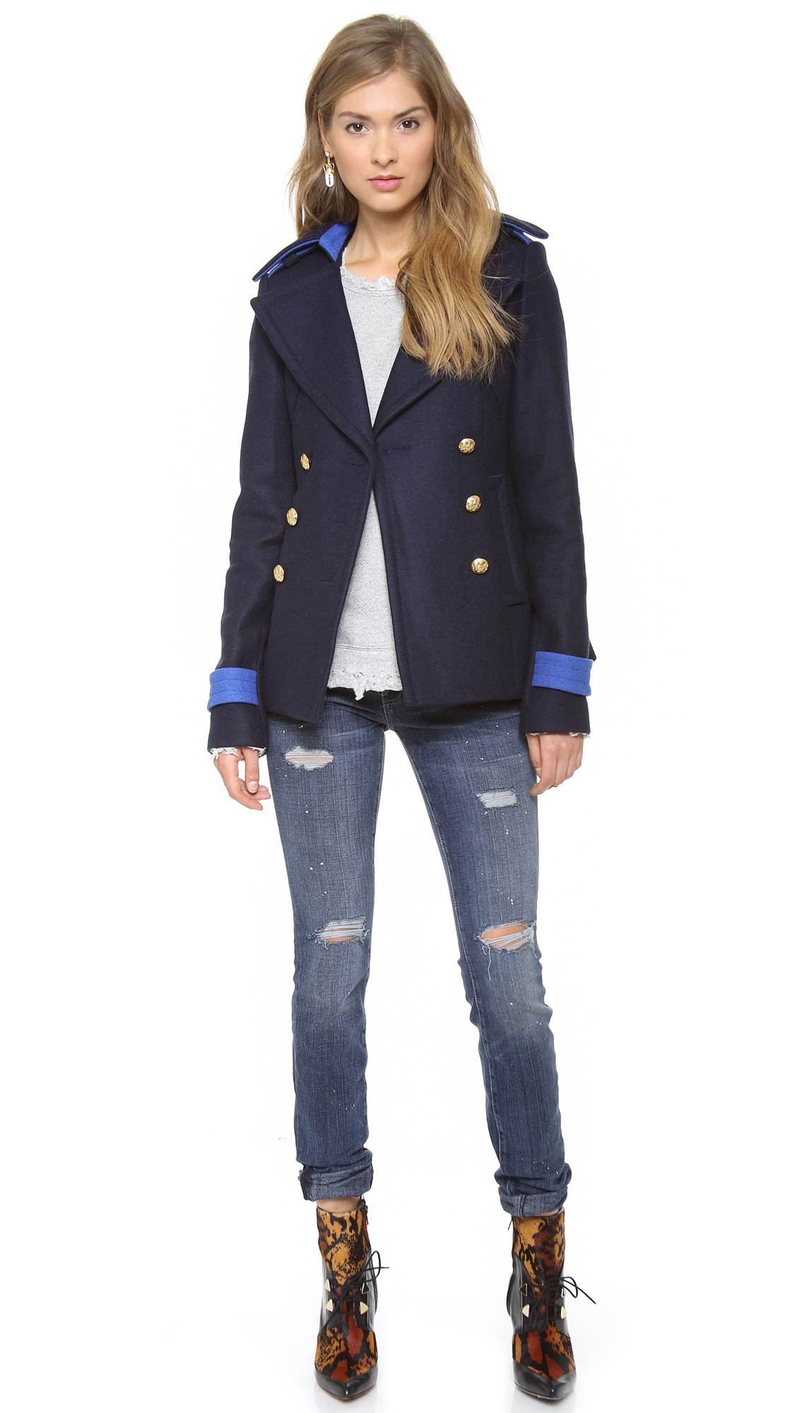 Smythe Classic Pea Coat In Blue Navy Neptune Lyst