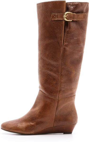 steven by steve madden intyce wedge boots in brown cognac