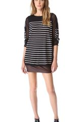T By Alexander Wang Striped Panel Sweater with Long Sleeves - Lyst