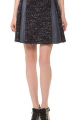 Thakoon Leather Combo Pleated Skirt - Lyst