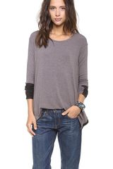 Three Dots Ultrasuede Trim Top - Lyst