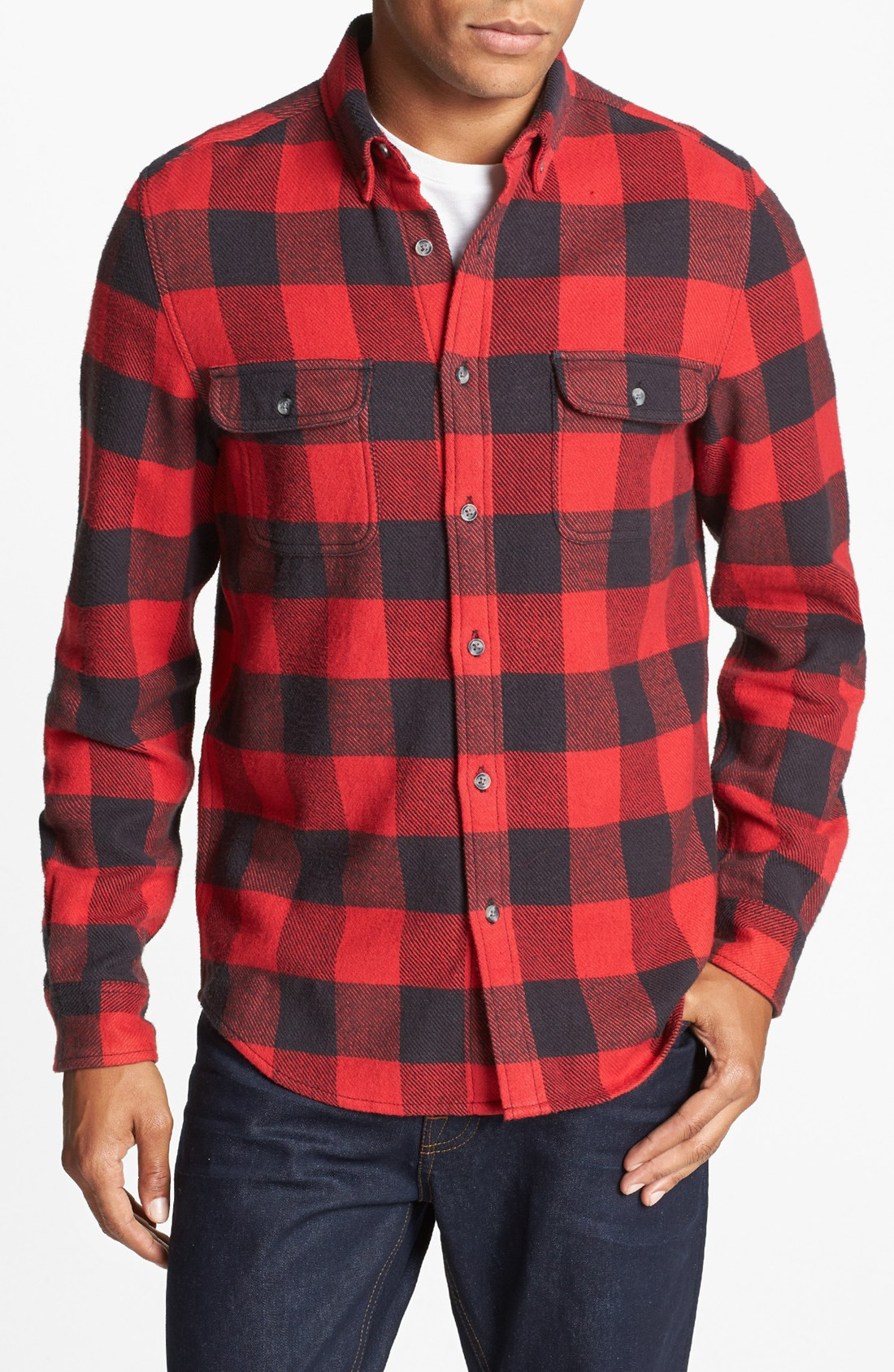 topman buffalo check shirt in red for men lyst