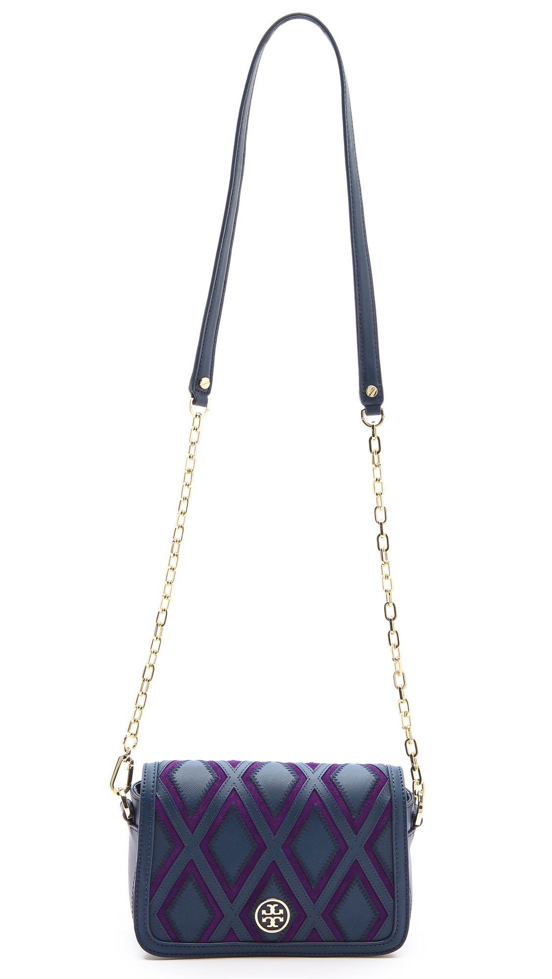 e1406e2882e Lyst - Tory Burch Robinson Patchwork Mini Chain Bag in Purple