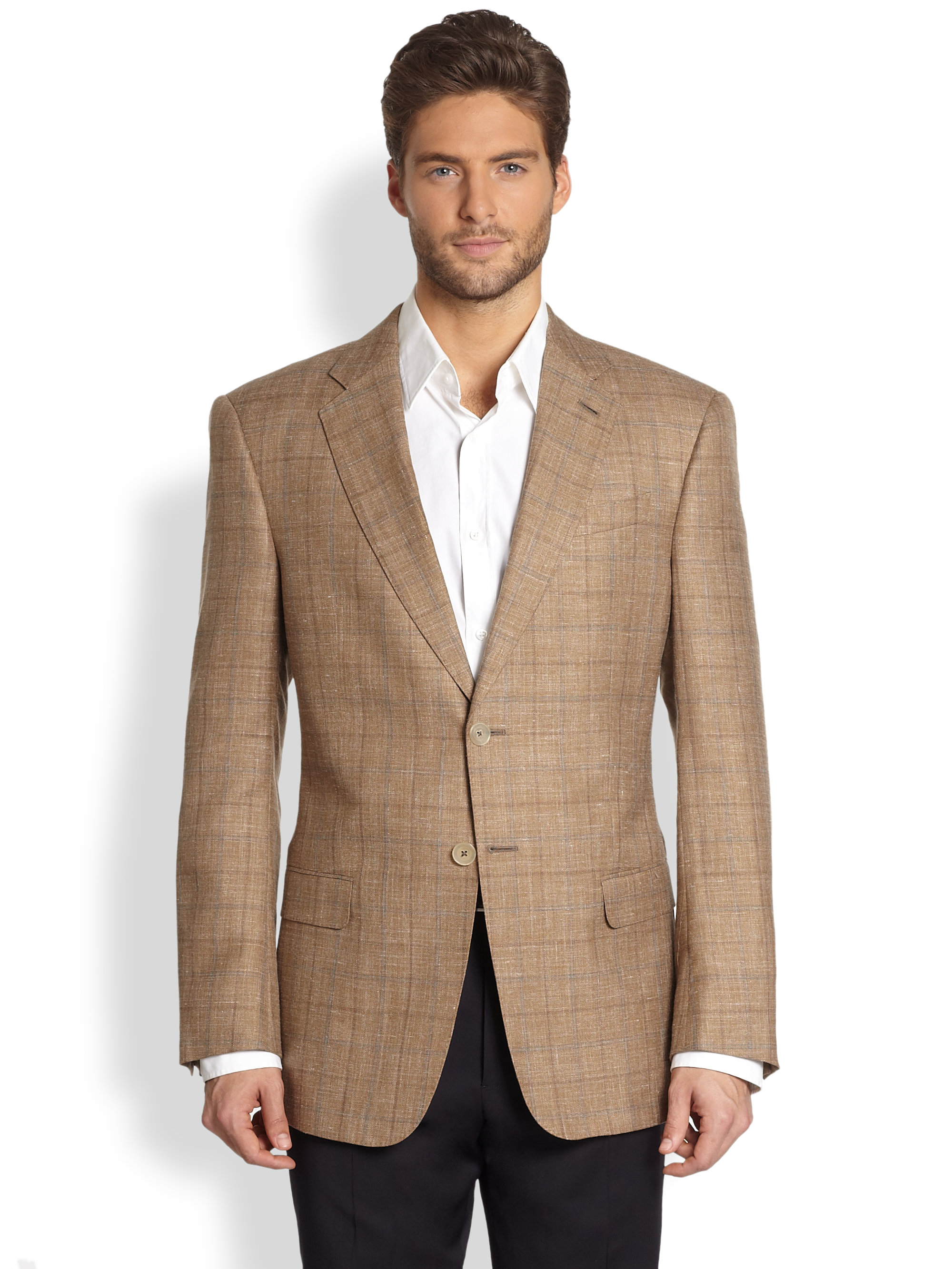 Armani Classic Plaid Blazer in Brown for Men | Lyst