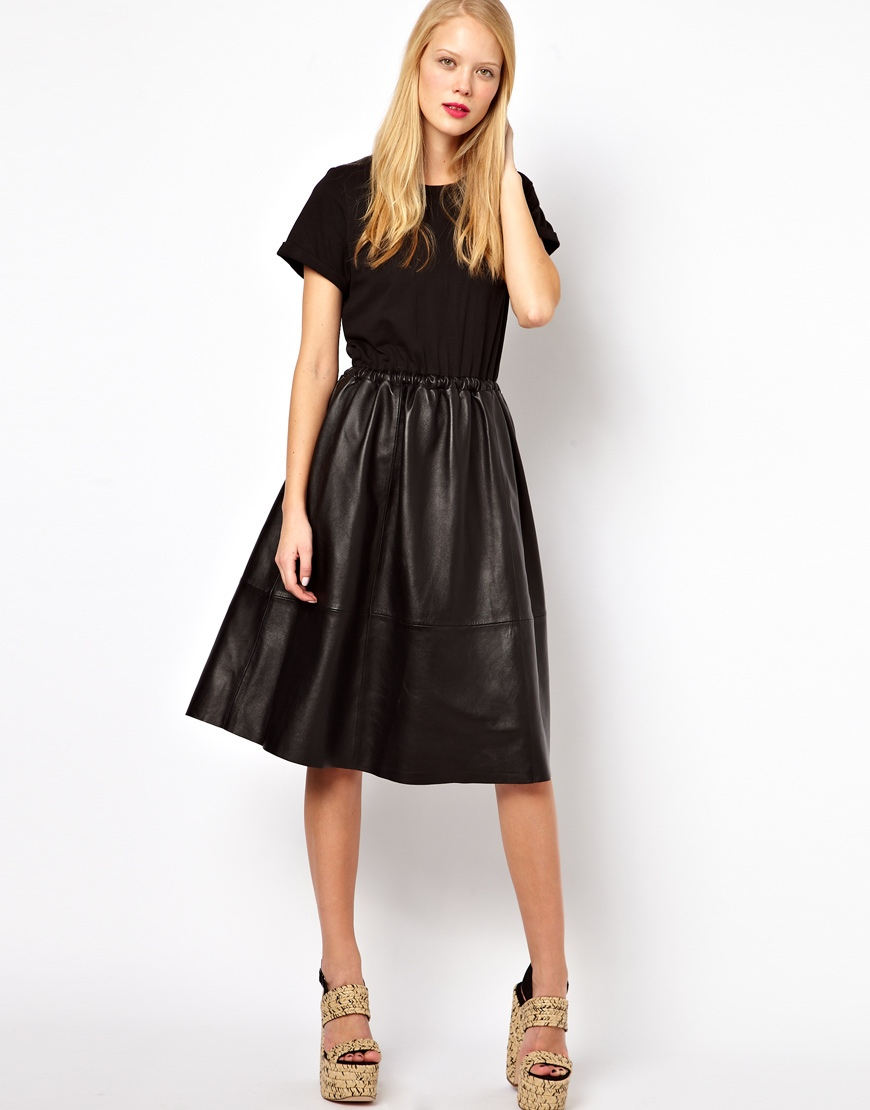 Midi dress with leather skirt and jersey top – Modern skirts blog ...