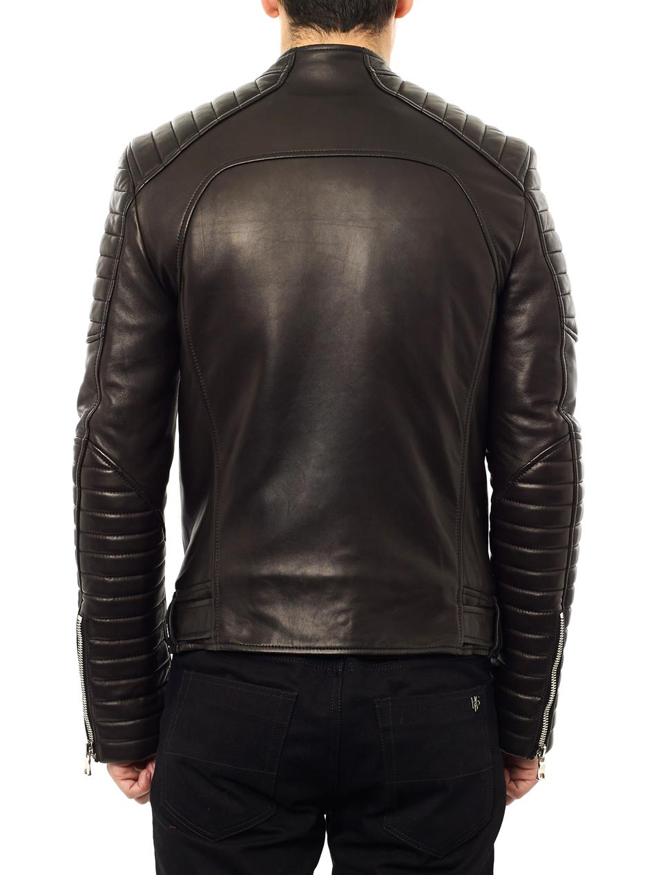 98446c21 Balmain Quilted Leather Biker Jacket in Black for Men - Lyst