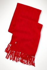 Blue Label Cabled Metallic Fringe Scarf - Lyst