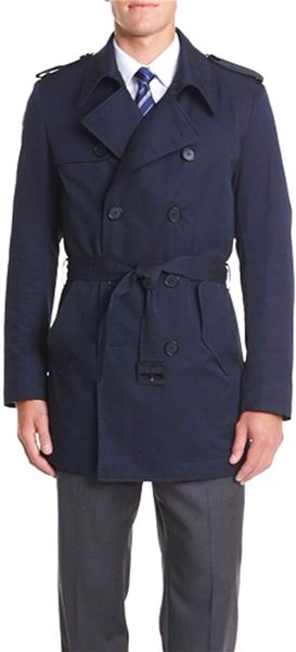 boss by hugo boss double breasted trench coat in blue for. Black Bedroom Furniture Sets. Home Design Ideas