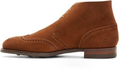 Mens Suede Wingtip Boots Suede Wingtip Boots in Brown