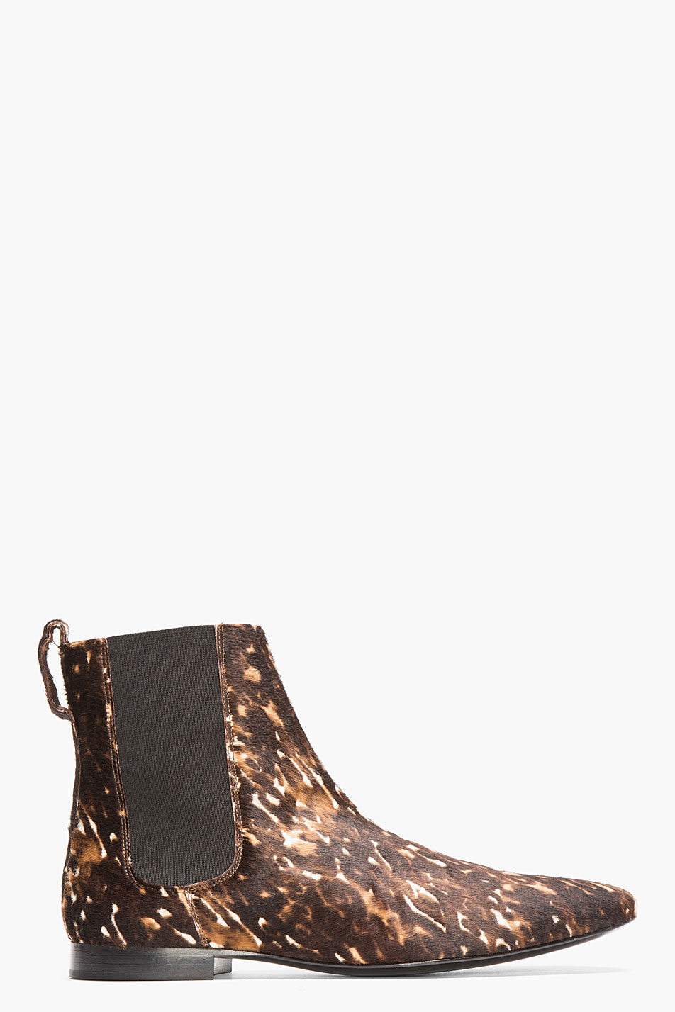 burberry prorsum brown spotted calf hair chelsea boots in