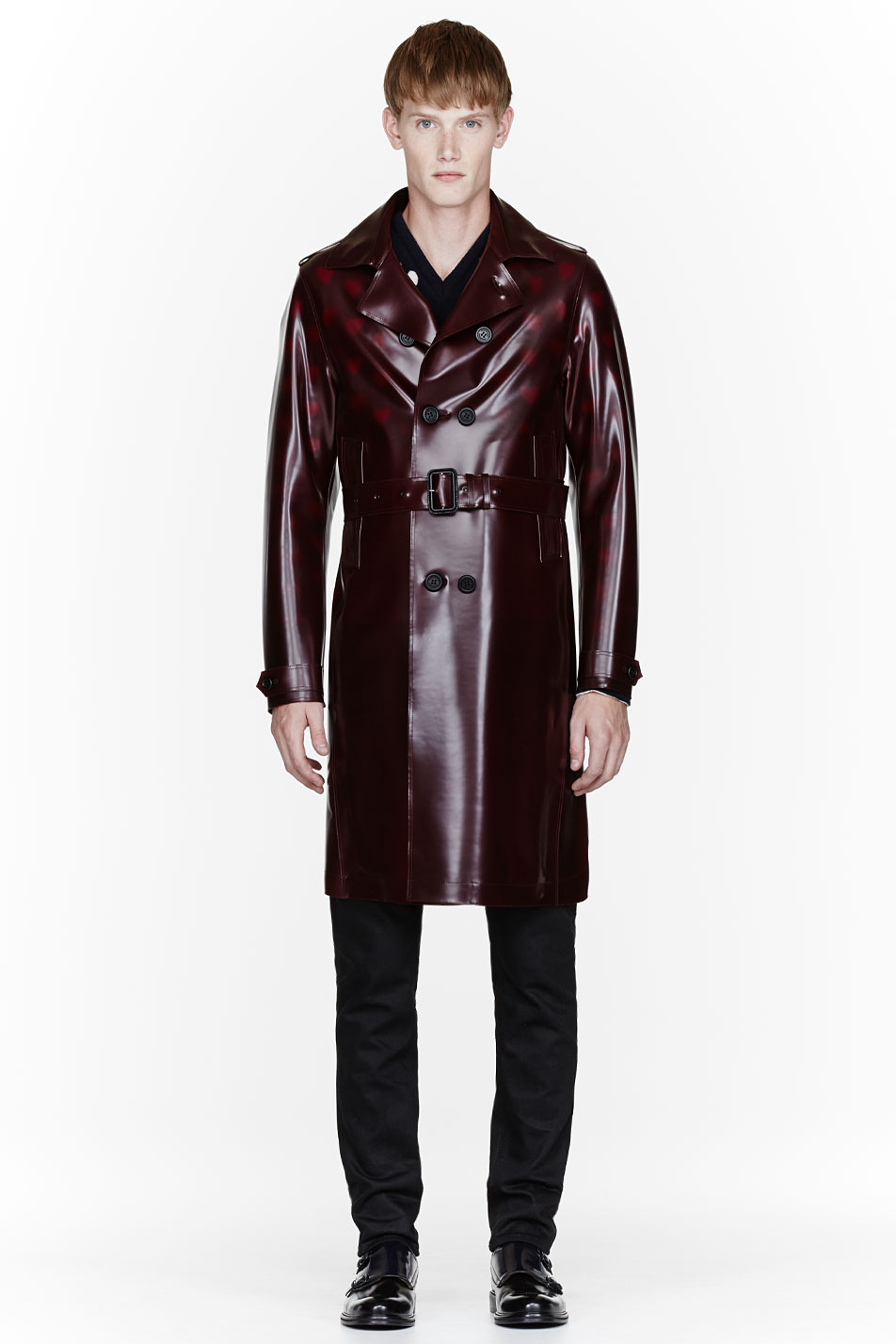 Burberry Prorsum Burgundy Sheen Pvc Trench Coat In Red For