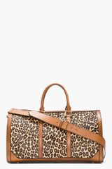 Burberry Prorsum Tan Leopard Print Calf_hair House Check Duffle Bag - Lyst