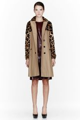 Burberry Prorsum Tan Mink and Leather Trench Coat - Lyst