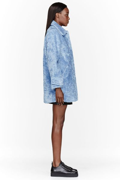 Chlo 235 Sevigny X Opening Ceremony Blue Faux Fur Cocoon Coat