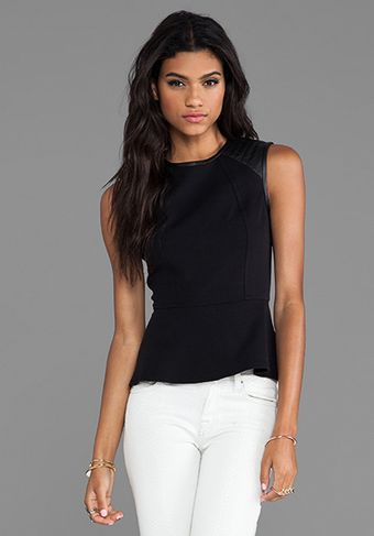Cut25 Quilted Leather Shoulder Peplum Top in Black - Lyst