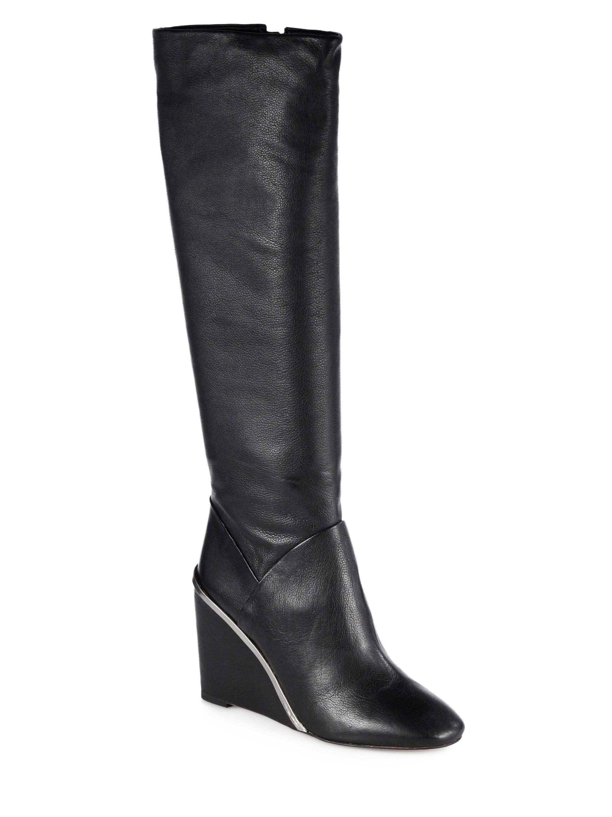 Diane Von Furstenberg Paula Leather Kneehigh Wedge Boots