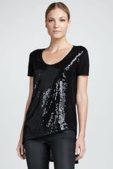 Dkny Sequinedfront Asymmetric Tee in Black - Lyst
