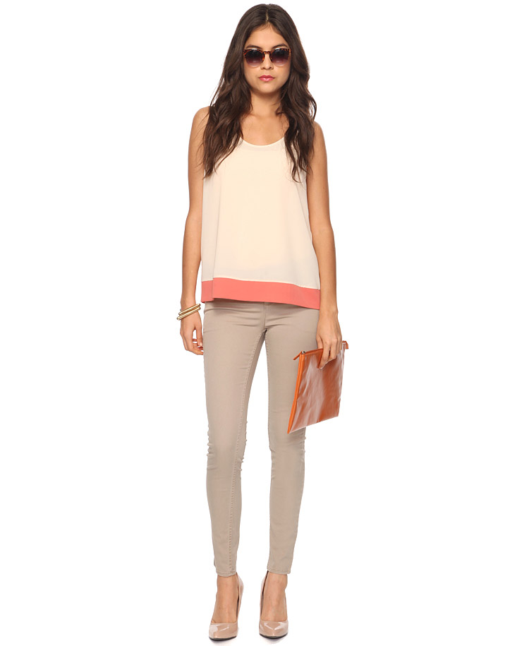 Forever 21 Twill Skinny Pants in Natural | Lyst