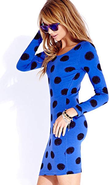 Forever 21 Standout Sketch Dot Bodycon Dress In Blue