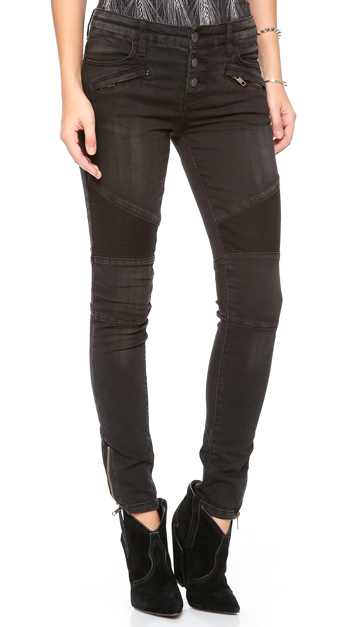 Free people Millenium Moto Jeans in Black   Lyst