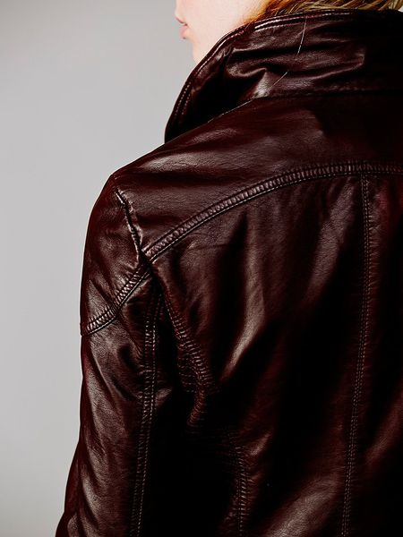 Free People Vegan Leather Hooded Biker Jacket In Red Lyst
