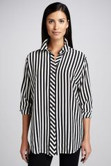 Go Silk Long Striped Silk Blouse Petite - Lyst